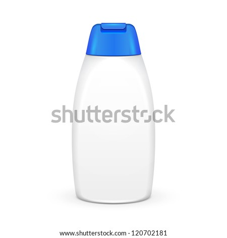 White Shampoo Plastic Bottle On White Background Isolated. Ready For Your Design. Product Packing Vector EPS10