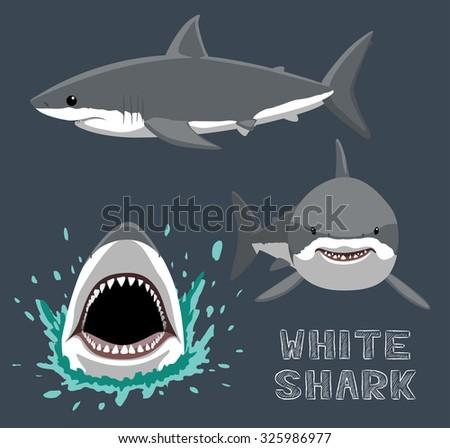 white shark cartoon vector