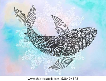 white shark vector zentangle