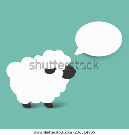 white sheep cartoon vector