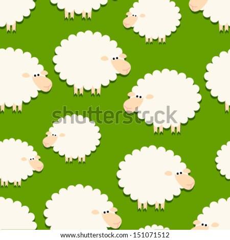 white sheep on green seamless pattern