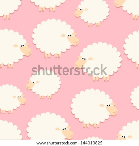 white sheep on pink seamless pattern - stock vector