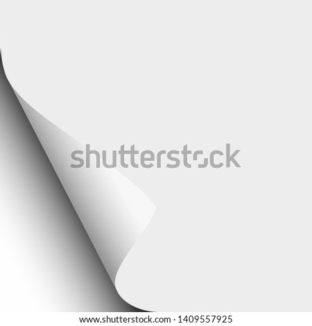 White sheet of paper with lower left paper curl. Vector paper mock up.