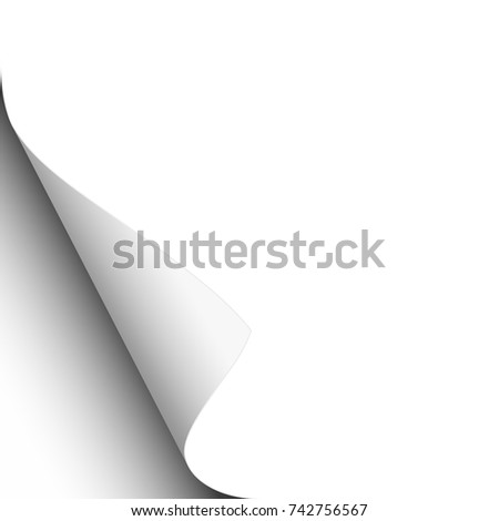 White sheet of paper with lower left paper curl. Vector template design.