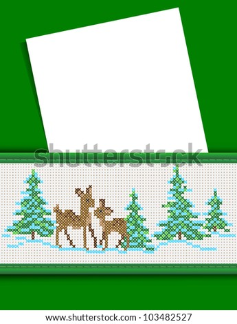White sheet, postcard, in the pocket with a New Year's pattern, an embroidered cross. Vector.