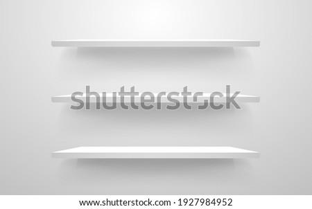 White shelf mockup. Empty shelves template. Realistic bookshelf design. Home interior elements on a wall. Modern horizontal shelf. Vector illustration.