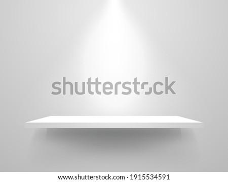 White shelf mockup. Realistic bookshelf with spotlight. Empty shelf template on white backdrop. Clean store shelves. Home interior object. Vector illustration.