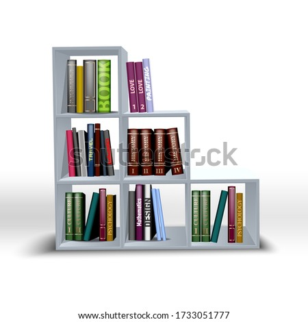 white shelves color illustration with different books. shelf for a white background, accessory display stand, retail display stand  Foto stock ©
