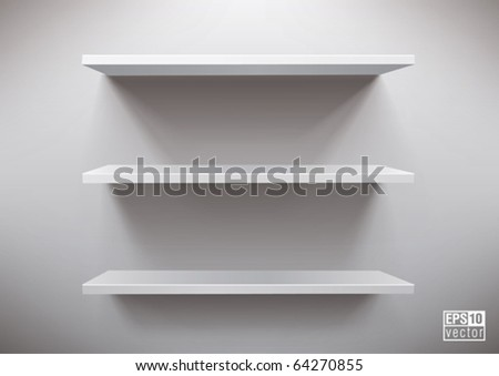 white shelves, eps10 vector - stock vector