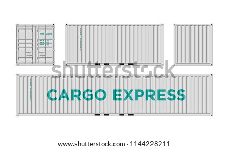 White Shipping Cargo Container for Logistics and Transportation Isolated On White Background Vector Illustration Easy To Change