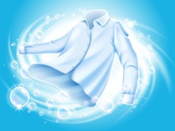 white shirt washed and spun in water, with soap bubble elements, isolated blue background 3d illustration