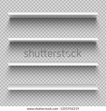 White shop product shelves. Blank empty showcase display, 3D supermarket retail shelves. Bookcase store rack, shopping merchandise market products racks realistic vector isolated mockup