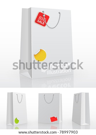 White shopping bag on white background with stickers. Vector illustration.