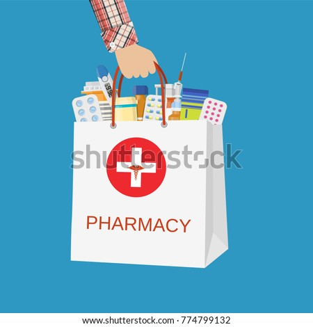 White shopping bag with different medical pills and bottles in hand. Healthcare and shopping, pharmacy, drug store. Vector illustration in flat style