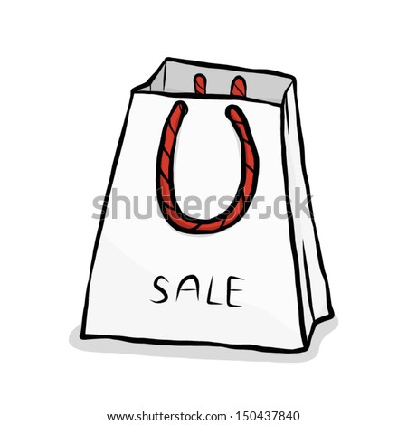 White Shopping Bag Black Handle White Shopping Bag With Red