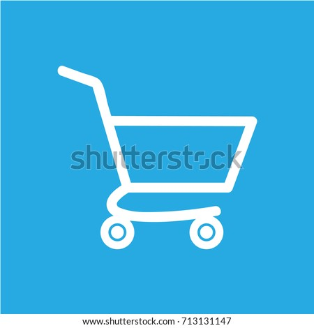 white shopping cart icon, isolated, blue background