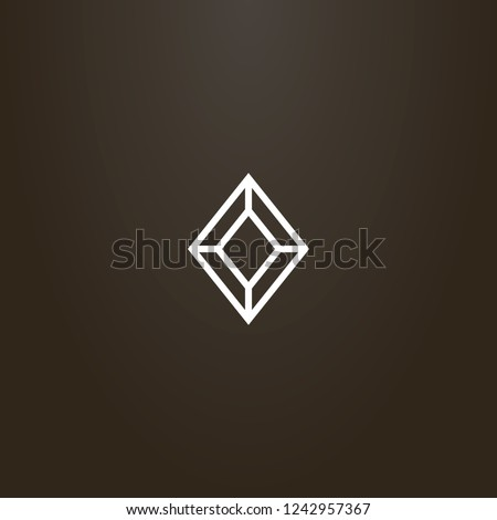 white sign on a black background. vector geometric line art sign of diamond shape gemstone