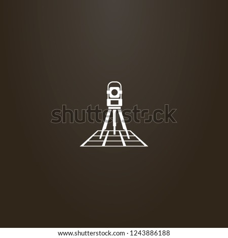 white sign on a black background. vector simple geometric sign of total station on a map