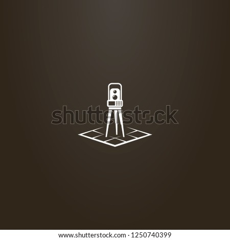 white sign on a black background. vector simple geometric sign of total station on a rhombus map
