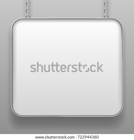 White sign with metallic frame and with rounded corners hanging from a chain against a light gray background. Signboard in shades of gray. Vector illustration