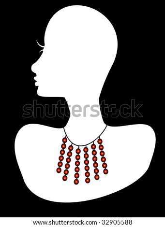 White silhouette head with gem stone dangle statement necklace jewelry. Vector Illustration.
