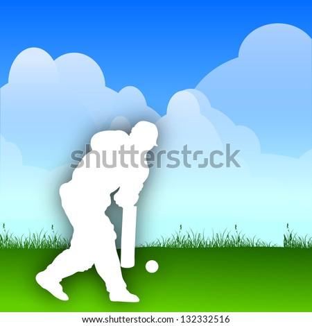 White silhouette of a cricket batsman hitting the ball