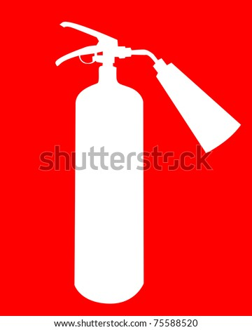 white silhouette of a fire extinguisher on a red background - stock vector
