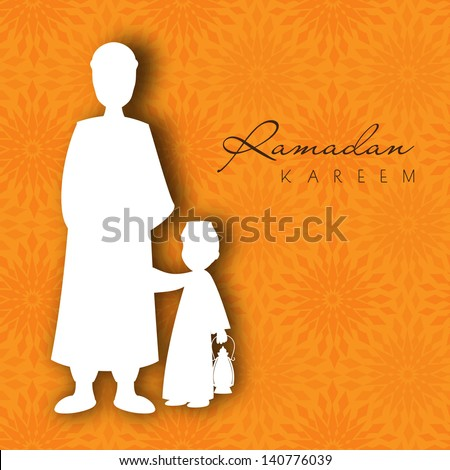 White silhouette of a Muslim man and child with Arabic lamp on orange background for Ramadan Kareem.