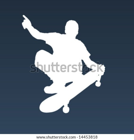 White silhouette of a skater in air.