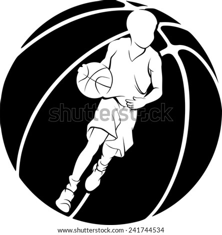 White silhouette of boy dribbling a basketball inside a basketball silhouette.