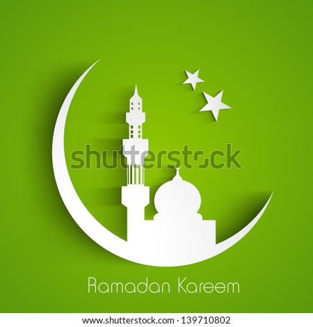 White silhouette of Mosque or Masjid on moon with stars on abstract green background, concept for Muslim community holy month Ramadan Kareem or Ramazan Kareem.