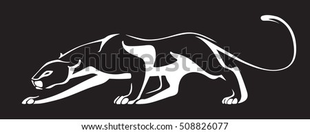 White silhouette of panther on black background. Vector illustration.