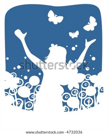 White silhouette of the girl with flowers and butterflies on a dark blue background.