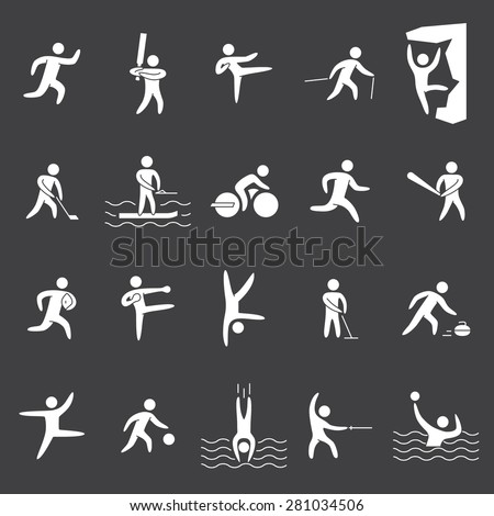 White silhouettes figures of athletes popular sports. Icons running, cricket, hockey, baseball, rugby, kickboxing, acrobatics, dance, basketball and other.