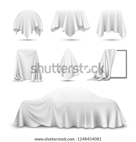 White silk cloth covered objects realistic set with draped mirror car hanging napkin tablecloth curtain vector illustration