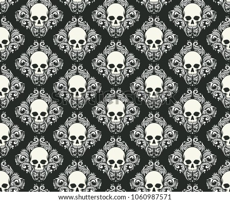 white skull head bones combination with white floral and leafs diagonal seamless pattern on black background
