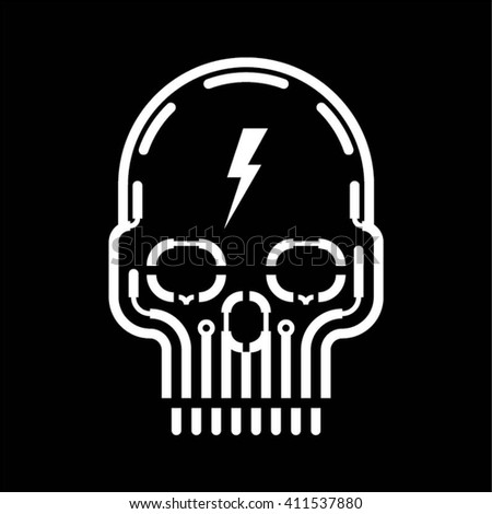white skull vector design on