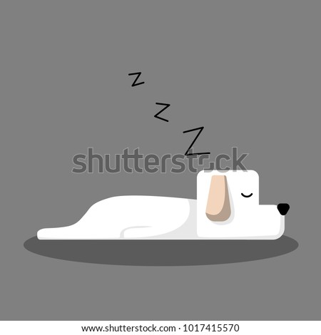white sleeping dog cartoon