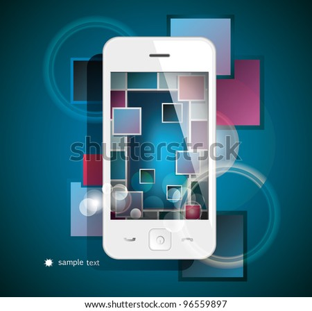 White smart phone on dark background