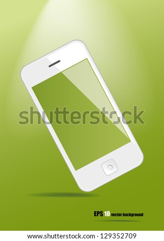 White smart phone on green background, vector eps 10.