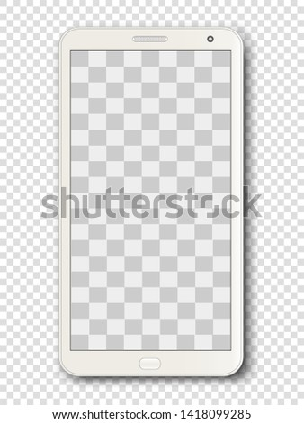 White smartphone, gadget, mobile phone isolated on a transparent background with a transparent screen. Can be used as a mockup for your design. Vector illustration.