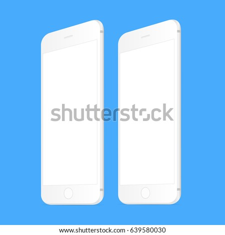 White smartphone iPhone 6 mockup with perspective view. Mobile responsive screens for showcasing your web applications. Vector illustration