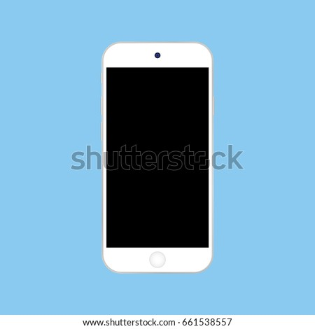 White smartphone iphone with black screen vector eps10. Iphone Smartphone on blue background.