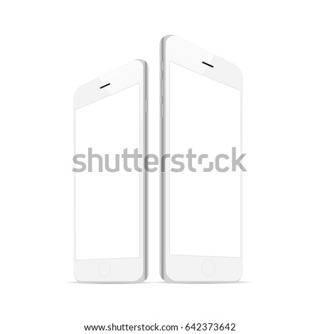 White smartphone iPhone 6 with blank screen isolated. Responsive screens mockups to showcase your app or mobile web site design. Vector illustration