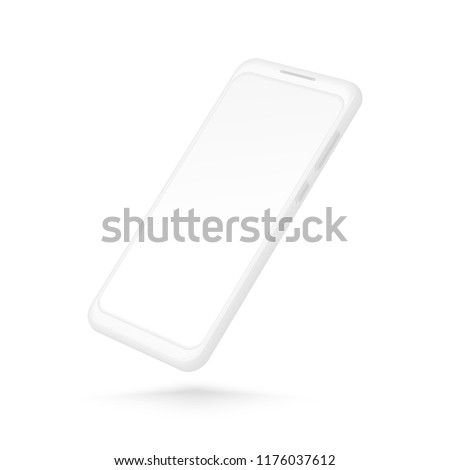 White smartphone mockup. Realistic 3d cellphone with blank screen. Vector modern phone template isolated on white background. Illustration of cellphone smartphone, device 3d screen