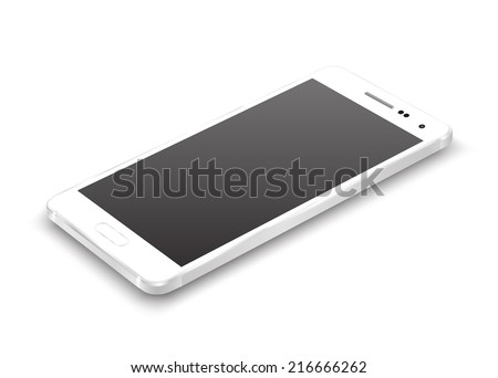 White smartphone perspective view. Vector realistic.