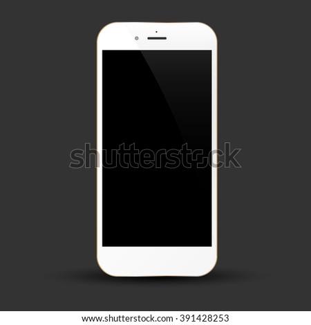 white smartphone realistic