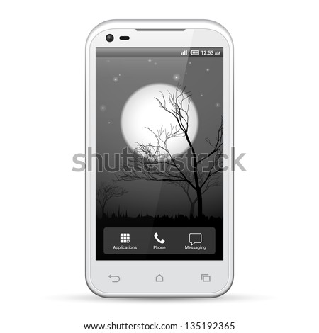 White Smartphone Template Display Screen Resolution 480x800. Dark Night Nightmare Scary Halloween Theme. Moon, Trees. Isolated On White Background. Vector EPS10