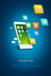 White smartphone with cloud of application icons on blue background