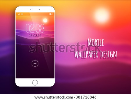 White smartphone with colorful wallpaper of nature on soft background.